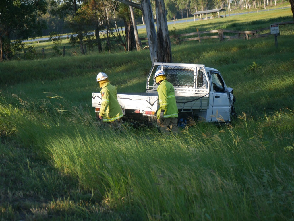 mergency services at the scene of a two-vehicle crash on Maryborough-Hervey Bay Rd, Susan River.