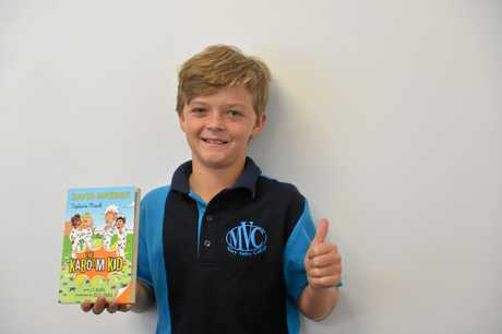THUMBS UP: Gympie all rounder Aidan Bailey's favourite book of The Kaboom Kid series is Captains Knock.