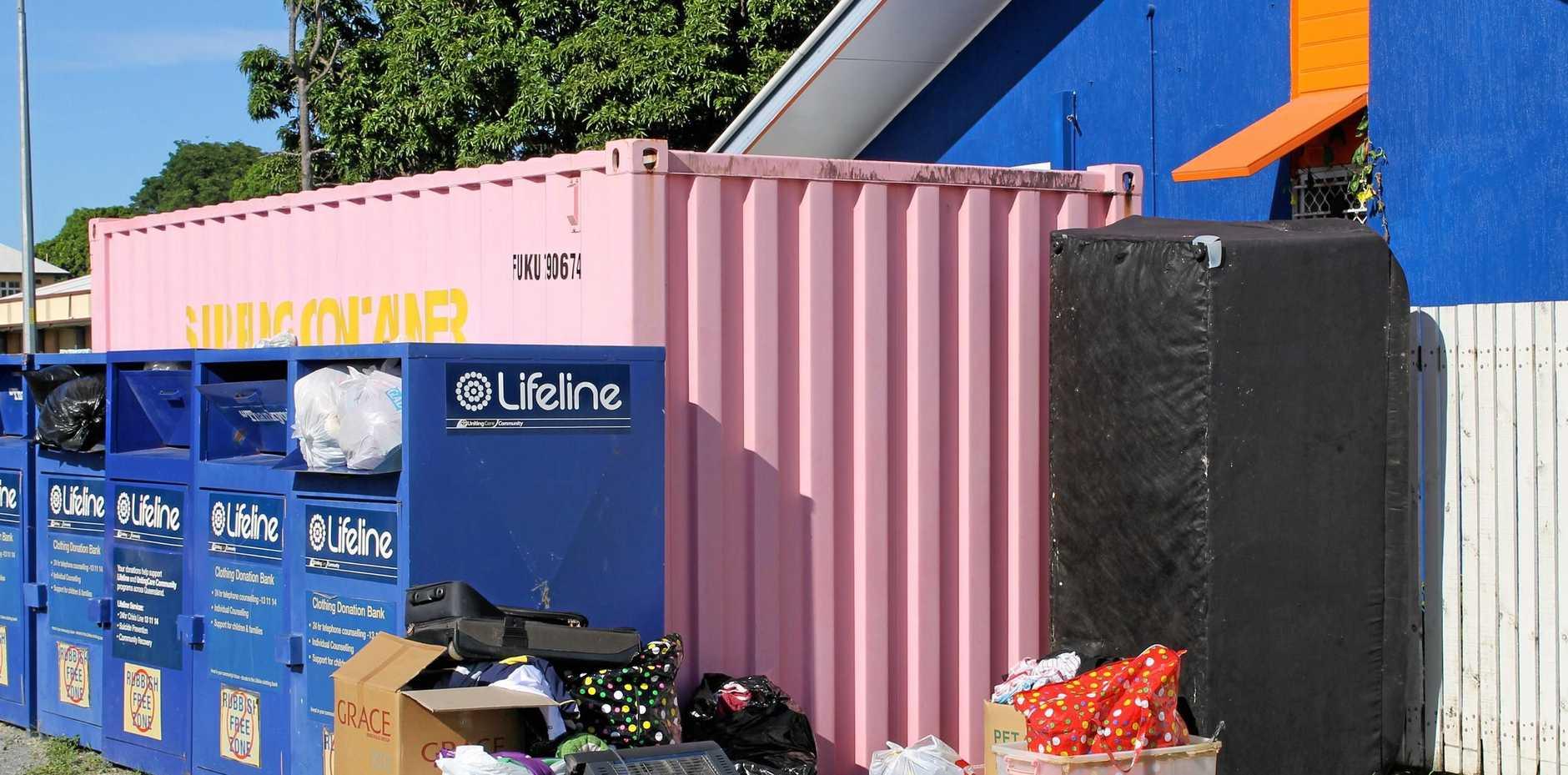 Rubbish dumped outside Lifeline's donation bins on Shakespeare St, Mackay.