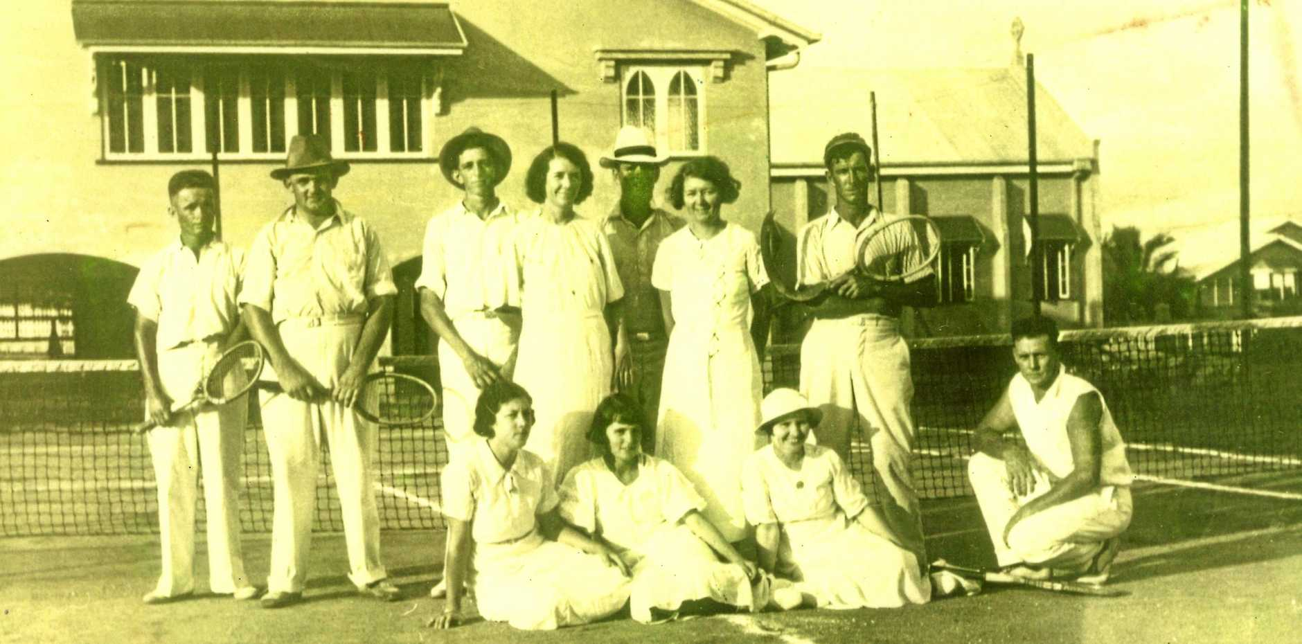 Mackay tennis players on the old courts at St Marys School. Can you identify one or more?