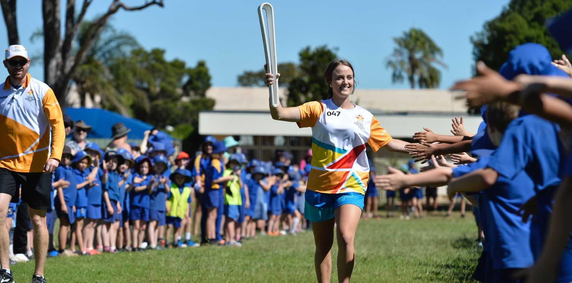 Carissa Osborne kicks of the Queen's Baton Relay in Toowoomba.