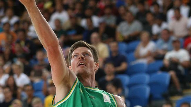 Cameron Gliddon of Australia lays up during the FIBA Basketball World Cup 2019 Asian Qualifier match between Australia and Philippines at Margaret Court Arena, Melbourne, Thursday, February 22, 2018. (AAP Image/ Hamish Blair)