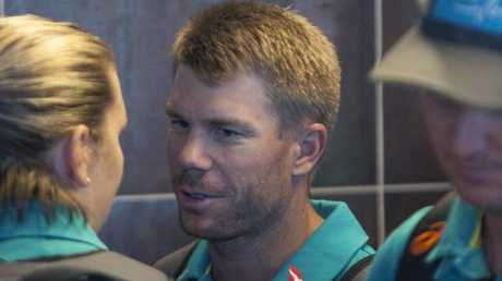 David Warner arrives at Cape Town International airport.