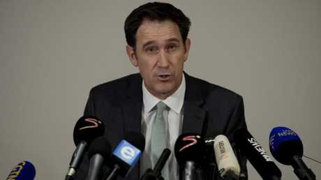 James Sutherland at a media conference in South Africa to announce initial findings of the probe into the ball tampering controversy.