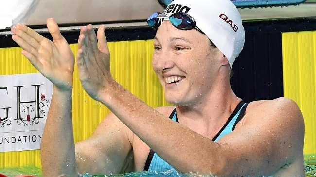 Cate Campbell celebrates after winning the 50m at the trials. Picture: Getty Images