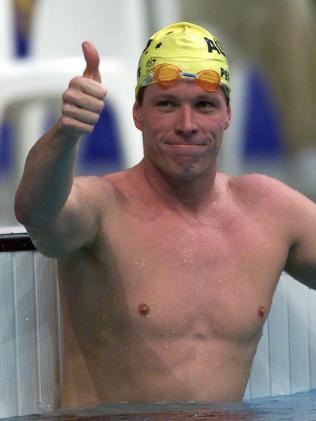 Kieren Perkins at the Sydney Olympics. Picture: Brett Costello