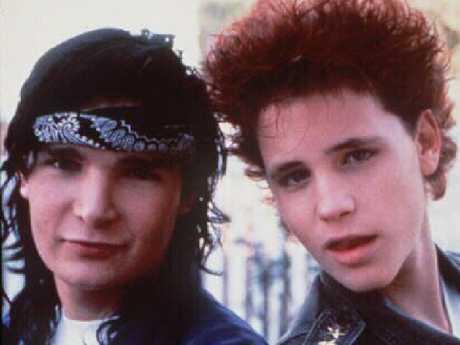 Corey Feldman (L) and Corey Haim in 1988 film Dream A Little Dream. Picture: Supplied