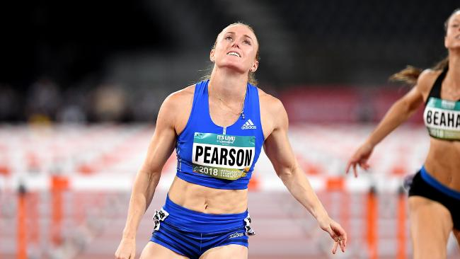 Sally Pearson wins the final of the 100m hurdle event at the Australian Athletics Championships at Carrara Stadium on February 17. (Photo by Bradley Kanaris/Getty Images)