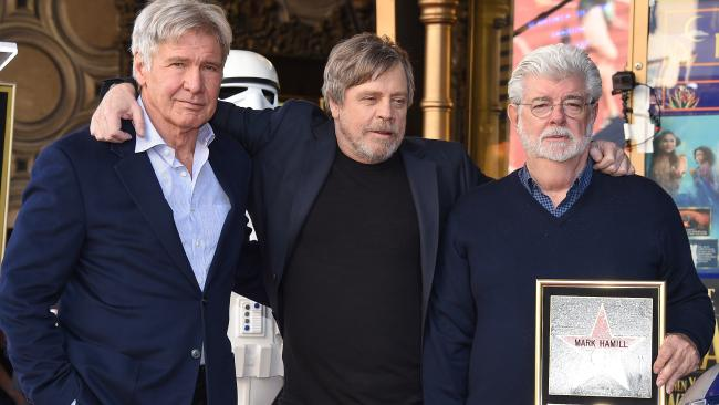 Star Wars originals: Harrison Ford, Mark Hamill and George Lucas.