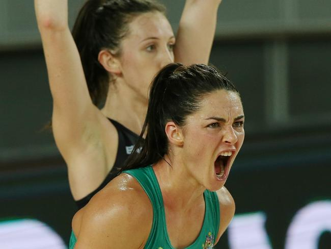 Australia's Sharni Layton playing against New Zealand before her break.