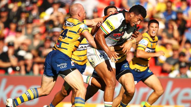 SYDNEY, NEW SOUTH WALES — MARCH 11: Viliame Kikau of the Panthers runs the ball during the round one NRL match between the Penrith Panthers and the Parramatta Eels at Panthers Stadium on March 11, 2018 in Sydney, Australia. (Photo by Mark Kolbe/Getty Images)
