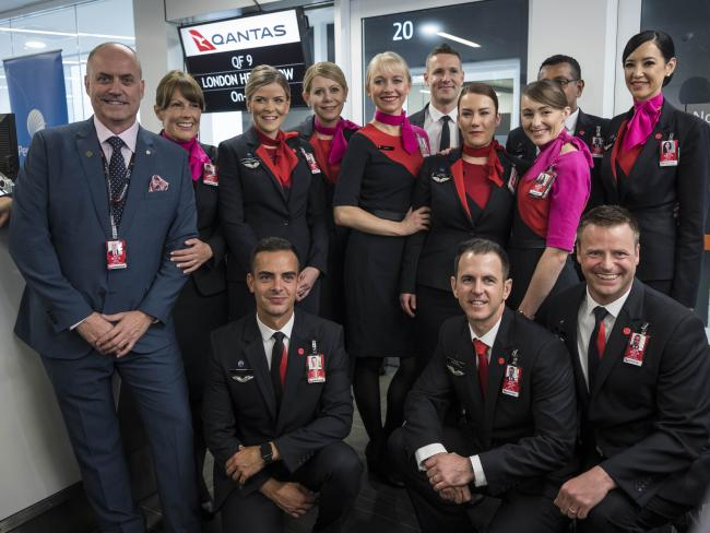 Qantas cabin crew from the inaugural Heathrow to Perth flight.