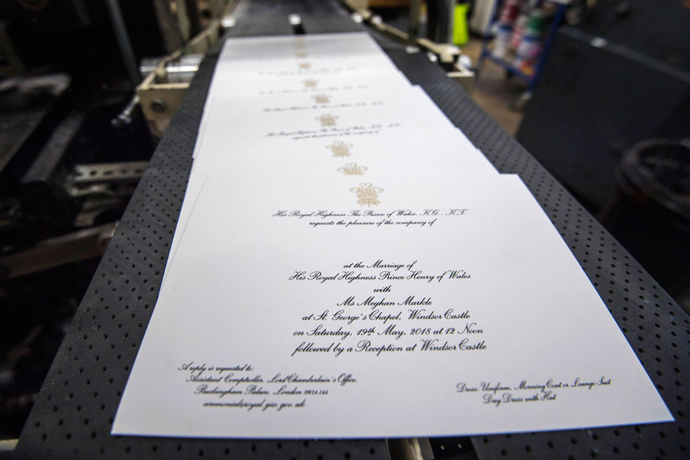 The invitations for the royal wedding of Prince Harry and 'Ms' Meghan Markle.