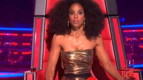 Kelly Rowland looks gobsmacked at the blind audition.