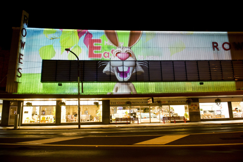 John Rowe has created an Easter themed animation on the Rowes building in Russell St. Thursday, 29th Mar 2018.