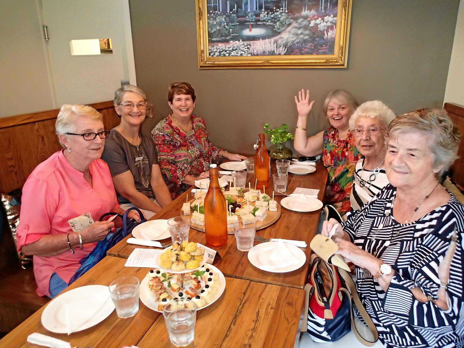 Pine Rivers VIEW Club members enjoying wonderful high tea at Lawnton coffee shop.