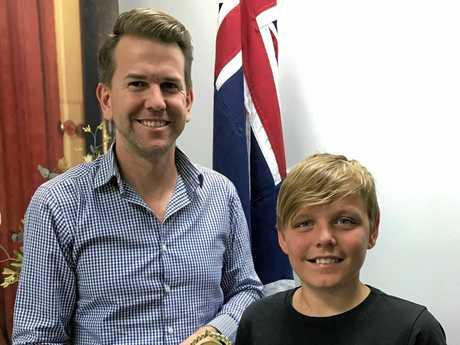 Hudson with Kawana MP Jarrod Bliejie at the presentation of his 2017 Young Entrepreneur of the Year Award.