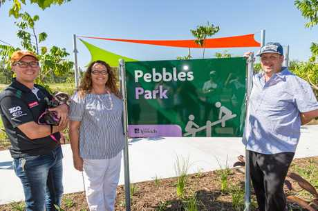 NOW OPEN: Ipswich Mayor Andrew Antoniolli, Councillor Kerry Silver and Trent Buchanan at the opening of Pebbles Park.