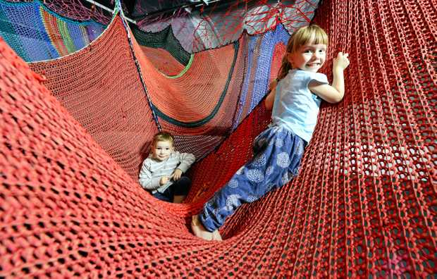 The Ipswich Art Gallery has a very popular giant climbing web for kids as part of their current exhibition.
