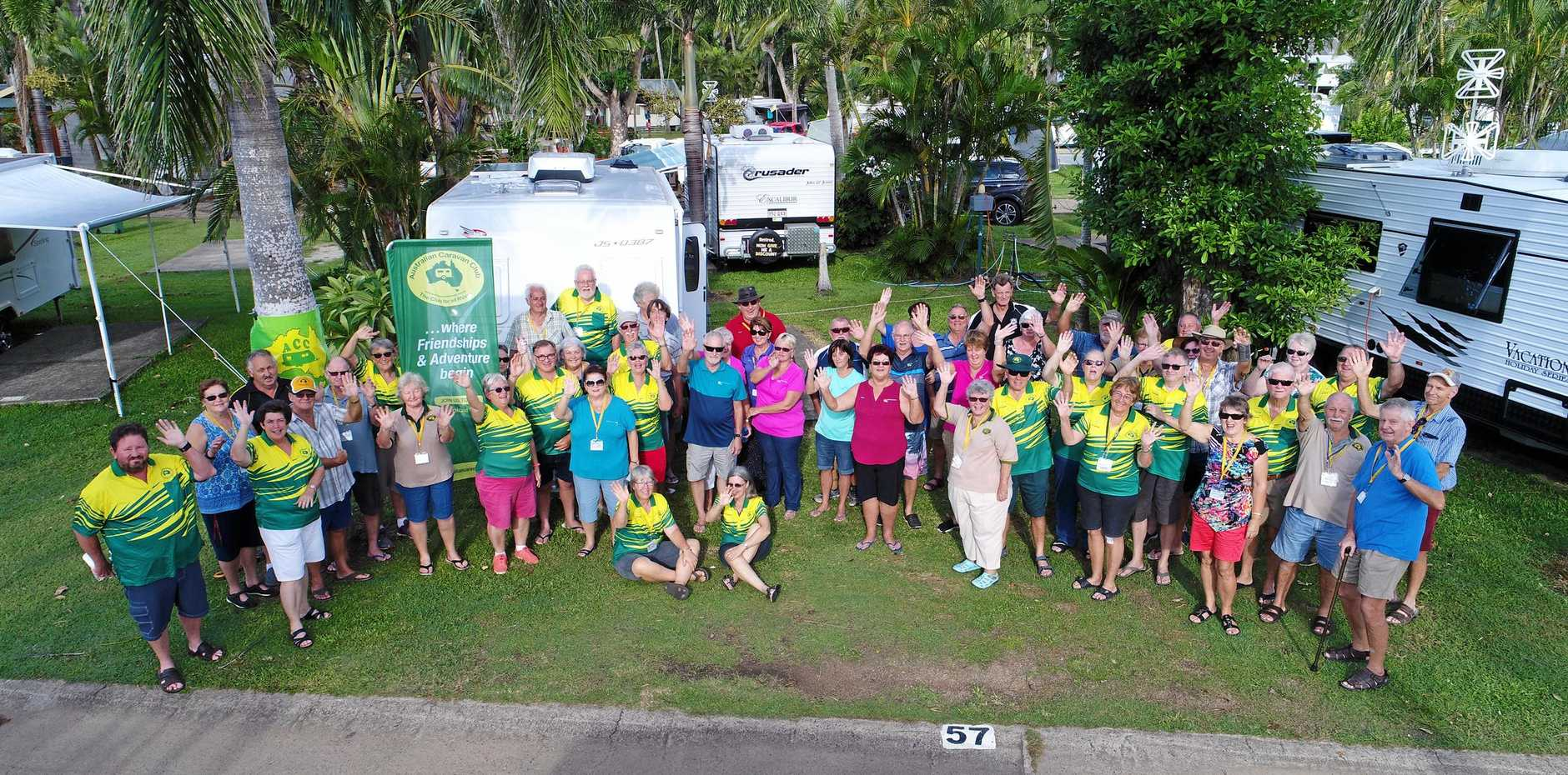 CARAVAN CREW: Wind and rain failed to dampen the spirits of ACC members at their combined branch muster at Airlie Beach this month.