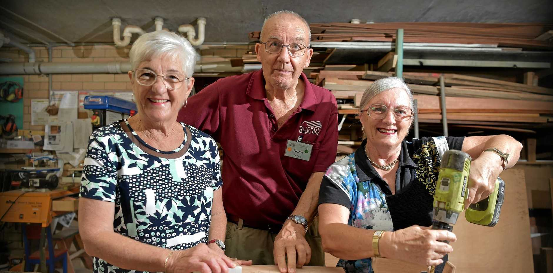 The Buderim Men's Shed are running classes to teach ladies basic home maintenance skills.Norm Thursby with Helen Graham and Judith Bidstrup