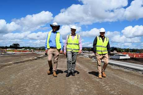 Inspecting progress in the Maroochydore CBD site are (from left) Shadforths Civil project manager Sam Fitzpatrick, SunCentral development manager Simon Kay and SunCentral technology adviser Zach Johnson.
