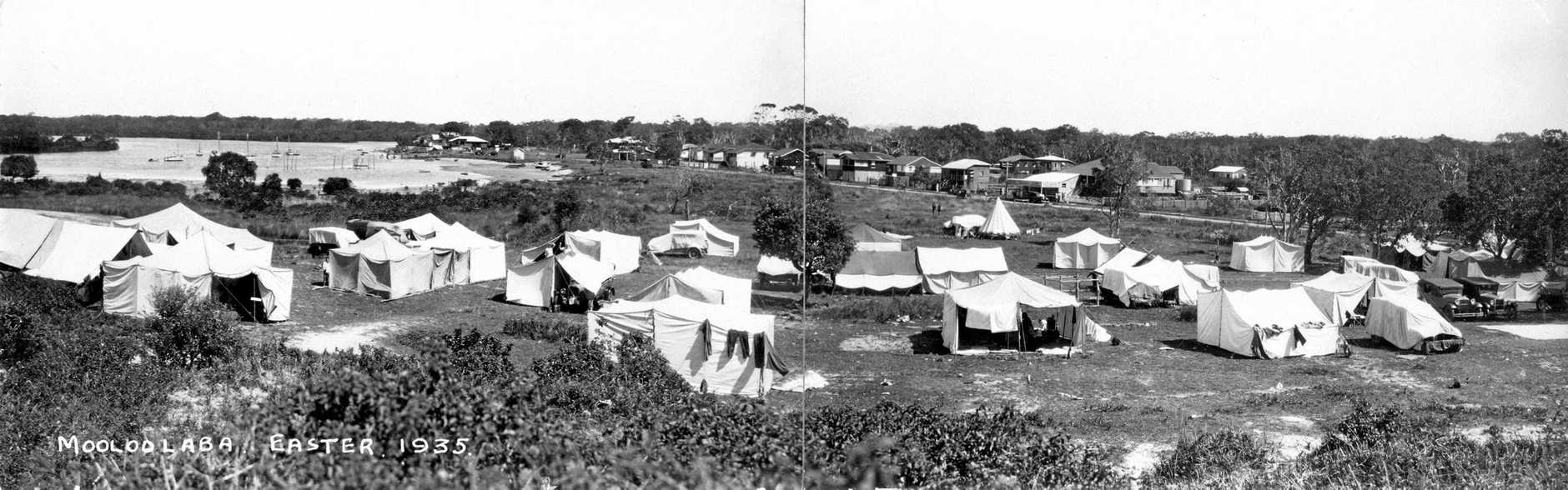 Camping on the Spit at Mooloolaba, Easter, 1935