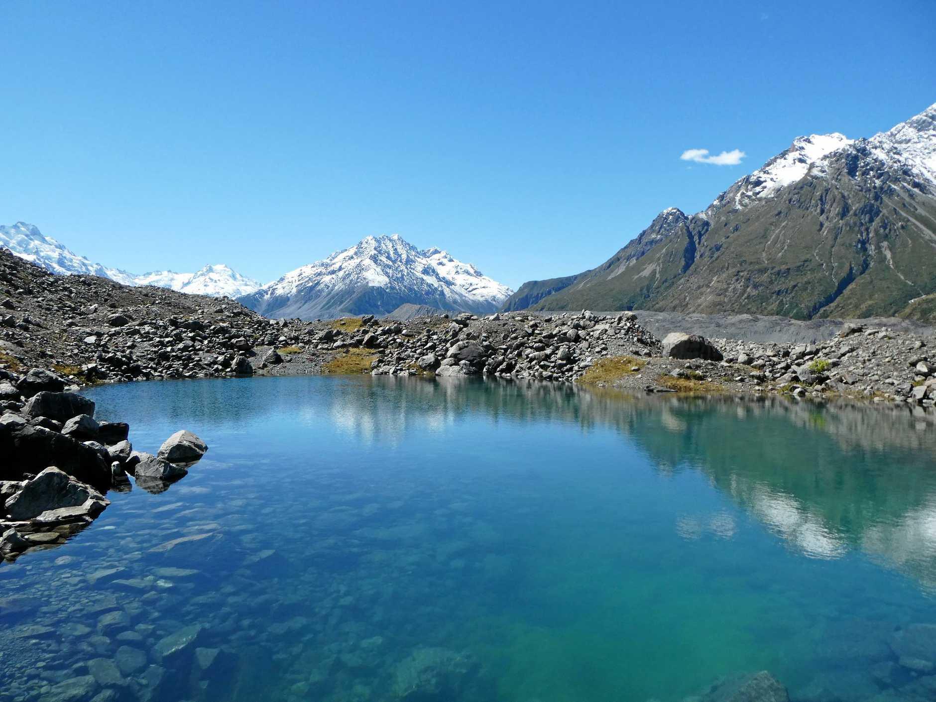 Invigorating glacier water at Mt Cook.