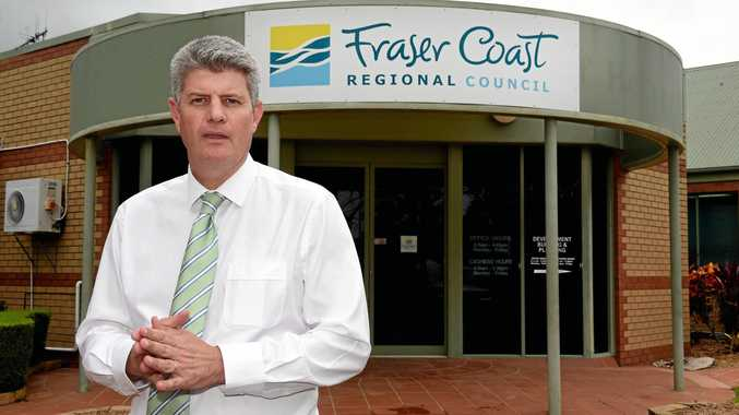 State Minister for Local Government, Stirling Hinchliffe, outside the Hervey Bay Chambers of the Fraser Coast Regional Council in February.