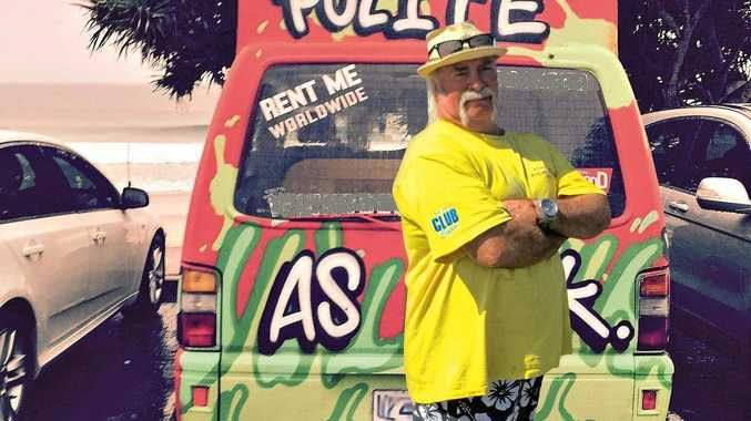 Paul McCarthy Photoshopped in to cover the offending word on a Wicked Van spotted in Byron in 2016. Photo Christian Morrow / Byron Shire News