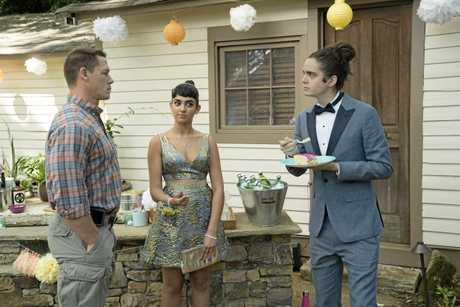 John Cena, Geraldine Viswanathan and Miles Robbins in a scene from Blockers.