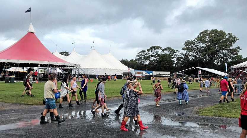 WEATHER: Rain was the main feature of the first day at Bluesfest Byron Bay 2018.