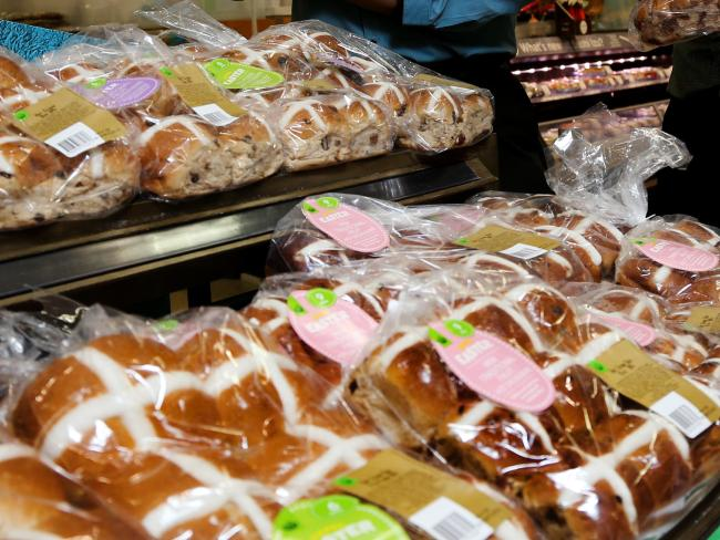 Woolworths' hot cross buns scored the highest of the major supermarkets' products. Picture: Stewart McLea