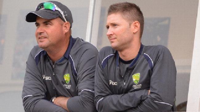 Former Australia coach Mickey Arthur and former captain Michael Clarke.