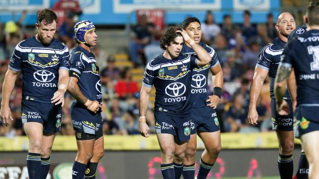 NQ Cowboys looking disappointed during the Round 4 NRL match between the North Queensland Cowboys and the Penrith Panthers at 1300 SMILES Stadium in Townsville, Thursday, March 28, 2018. (AAP Image/Michael Chambers) NO ARCHIVING, EDITORIAL USE ONLY