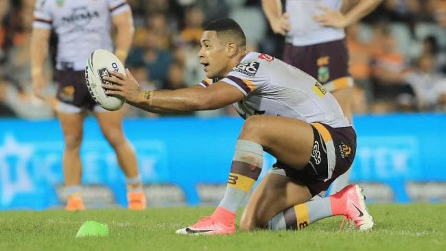 Jamayne Isaako lines up a penalty in golden point extra time during the round three NRL match between the Wests Tigers. Picture: Mark Evans/Getty Images