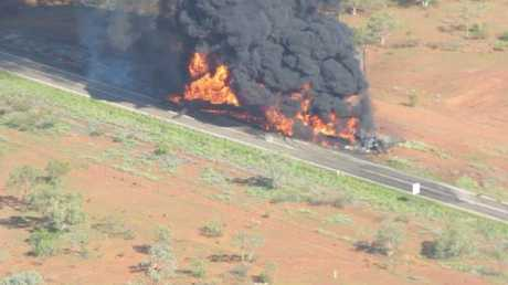 The scene of a crash near Cloncurry on the Barkly Highway. Photo Ron Bird
