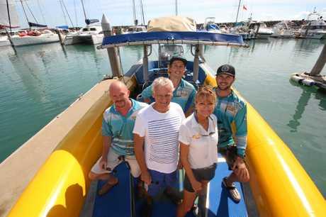 Ocean Rafting crew Gosta Ehrnst, Peter Hearnshaw of Airlie Beach Tourism, Todd Robertson, owner of Ocean Rafting Jan Claxton and Tom Jones on their return from Whitehaven Beach.