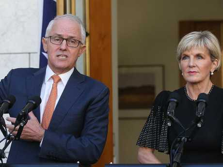 PM Malcolm Turnbull and Minister for Foreign Affairs Julie Bishop. Picture: Kym Smith