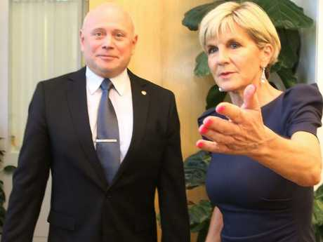 Russian Ambassador Grigory Logvinov meeting with Minister for Foreign Affairs Julie Bishop. Picture: Kym Smith