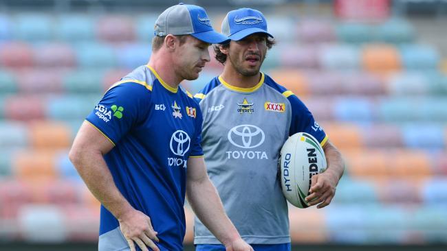 Michael Morgan and Johnathan Thurston at training. Picture: Evan Morgan
