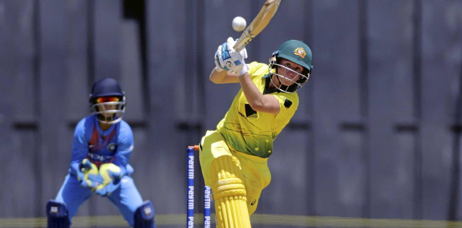 Australia's Beth Mooney bats against India during their cricket match at the Women's T20 Triangular Series in Mumbai, India, Thursday, March. 22, 2018. (AP Photo/Rajanish Kakade)