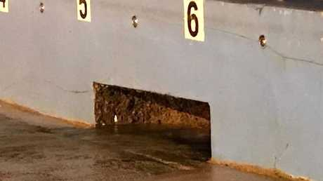The hole where Myrthe Koning, 10, was sucked through at Dee Why rock pool. Picture: Supplied