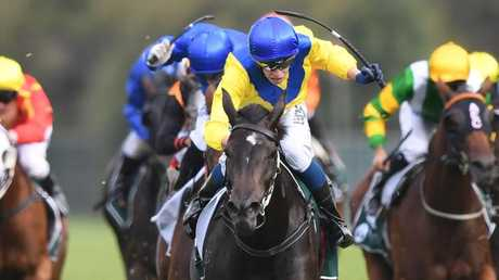 Michael Dee produced a well-judged ride out in front on Hiyaam in the Vinery Stud Stakes. Picture: AAP