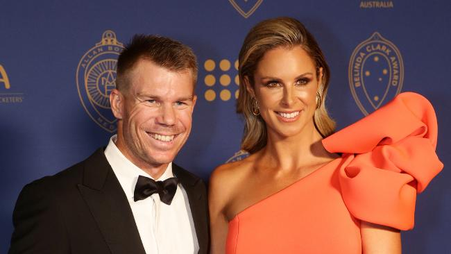 David Warner and partner Candice Warner at the 2018 Allan Border Medal awards. Picture: Andrew Tauber