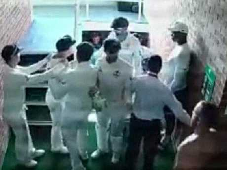 Warner defends his wife's honour in the changing room. Picture: Supplied