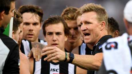 "Collingwood coach Nathan Buckley says a ""payday"" is coming for the Pies. Picture: AAP"