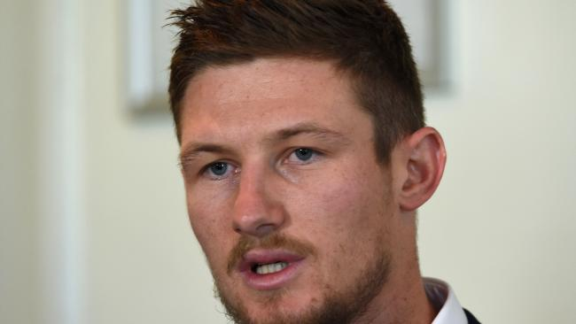Cameron Bancroft addresses the media.