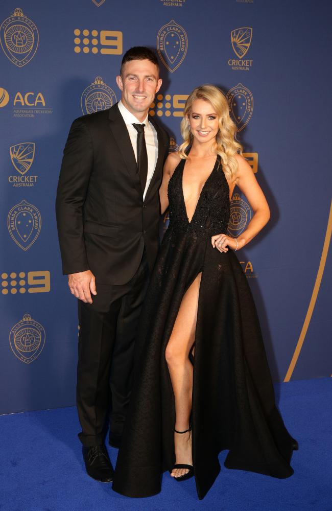 Shaun Marsh and his wife Rebecca Marsh at the 2018 Allan Border Medal. Picture: Andrew Tauber