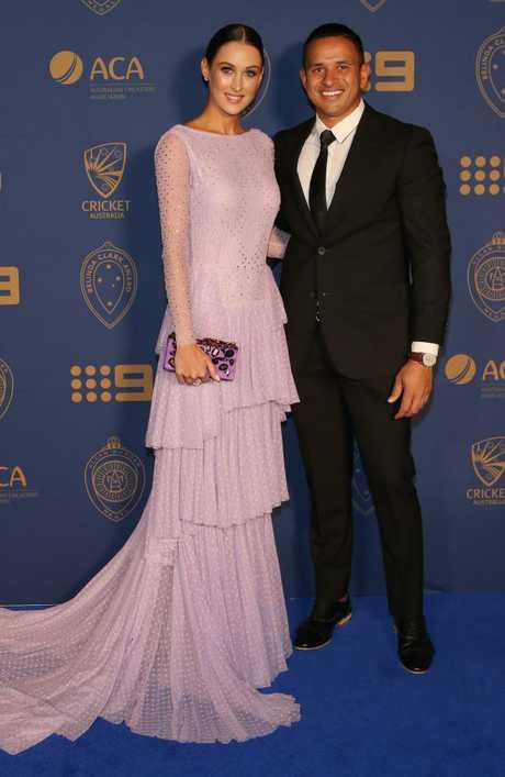 Usman Khawaja and his partner Rachel McLellan at the Allan Border Medal award ceremony. Picture: David Crosling/AAP